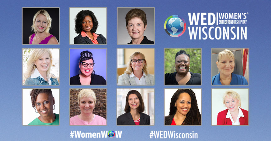Photo of the great lineup of speakers at The inaugural women's Entrepreneurship Day Wisconsin (WEDWisconsin)